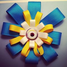 Image of Minion Eye Ribbon Hair Bow