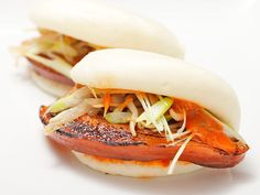 These buns combine spicy mayo, scallions, and pickled bean sprouts. They'd also be great with some hoisin sauce and sliced scallions or sweet Japanese mayo and shredded lettuce.