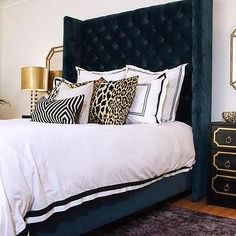 Navy Blue and Gold Bedroom with Dorothy Draper Style Nightstands Leopard Bedroom, Glam Bedroom, Bedroom Themes, Bedroom Decor, Master Bedroom, Bedroom Ideas, Bedroom Inspo, Black White And Gold Bedroom, Black And Gold Living Room