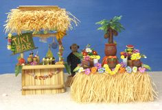 Colorful Miniature Luau Party Decoration for your Dollhouse by DinkyWorld at Etsy