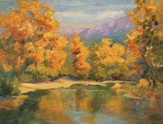 "Pintura de paisaje en aceite ""Remanso"", 11 ""x 14"", por Marion Hedger"