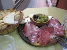 """simple lunch in Florence Italy.  The best part was the """"serve yourself"""" bottle of Chianti for 1 euro a glass.  No fancy wine glass either, just a glass!"""