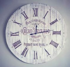 DIY WOODEN FRENCH CLOCK GRAPHICS: use pallets to make clock then use paint or stain and finish out with these graphics from GRAPHICS FAIRY.  IMG_20150410_011153