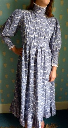 Early Vintage 1970's Laura Ashley Prarie Dress Deer Print Size 12 14 | eBay