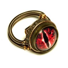 Steampunk Jewelry - RING - Evil Red Dragon Eye - Size 10 ONLY. $60.00, via Etsy.