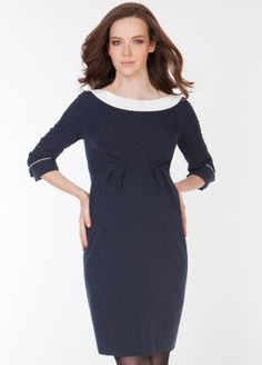 Love The White Detailing On This Navy Maternity Dress Perfect For Office