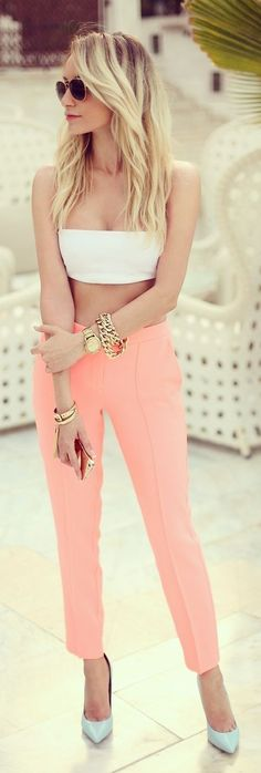 #crop #top #trend Spring #outfitideas |White Bandeau Top + Coral Tailored Ankle Trousers