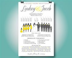 SAMPLE Wedding Program  Basic Silhouette by SimpleandStunning2
