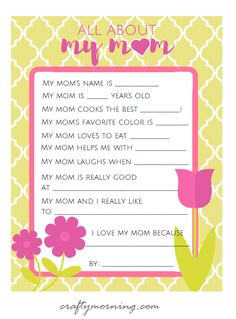 All About Mom & Grandma (Mother's Day Printables for Kids) - Crafty Morning Mom Poems, Mothers Day Poems, Mothers Day Crafts For Kids, Fathers Day Crafts, Muffins For Mom, Mother's Day Projects, School Projects, Mother's Day Activities, Educational Activities
