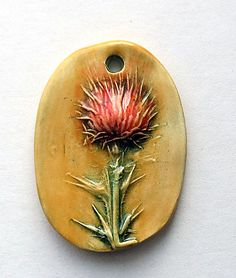 Handmade Ceramic Thistle Pendant Light Red and Tangy Orange by Mary Harding by maryhardingjewelry on Etsy