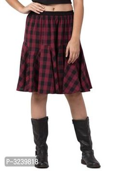 Short Skirt for Women in Checked Design made of Cotton Approx Length 22 Inches Formal Shirts, Casual Shirts, Ethnic Gown, Western Wear For Women, Fashion Gallery, Jumpsuit Dress, Green Cotton, Short Skirts, Nightwear