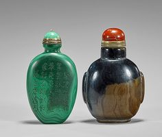"<b>Two Carved Snuff Bottles</b> <br  /> Two carved snuff bottles: well hollowed agate, circular form with paneled shoulders; together with possibly malachite oval form with inscriptions to each side; hardstone stoppers to each (some minor wear); H: 2 3/8"" (taller)"