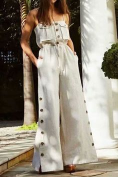 Plain Pocket Travel Look Full Length High Waist Women's Jumpsuit Summer Outfits, Cute Outfits, Off Shoulder Jumpsuit, One Piece Swimwear, Look Chic, Jumpsuits For Women, Fashion Dresses, Fashion Tips, Fashion Design