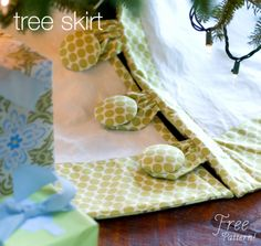 Free Amy Butler tree skirt pattern.  Nothin fancy but I love the fabric covered buttons!