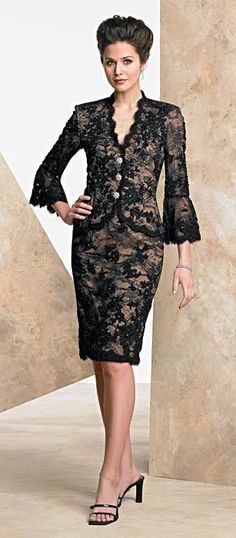 """Leighton"" black lace short suit with long bell sleeves & crystal buttons from Victorian Trading Co."