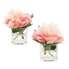 """Set of four faux peony arrangements from Natural Decorations, Inc. Made in the USA.   Product: Set of 4 faux floral arrangementsConstruction Material: Polyester and glassColor: Pink Features: Includes faux peonies Dimensions: 7"""" H x 6"""" W x 7"""" D each Note: This product is supplied by Natural Decorations, Inc."""