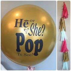 Create an exciting and memorable POP at your gender reveal party! Our printed 36 inch gold balloon filled with confetti will make your babys gender Gender Reveal Box, Gender Reveal Balloons, Gender Reveal Party Decorations, Baby Shower Gender Reveal, Baby Gender Announcements, Balloon Tassel, Gender Party, Gold Balloons, Reveal Parties