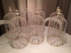 7 CREAM VINTAGE SHABBY LOOK BIRD CAGES WEDDING CENTRE PIECES