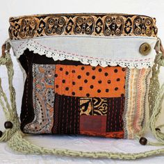 Boho hippie purse, Handquilted bag, Linen quilted purse, Macrame boho by HobbsHillQuilts on Etsy
