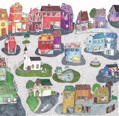 Joyville wallpaper. Colourful and quirky , this would add a lovely pop to a nursery or playroom