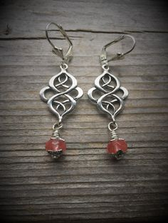 Decorative Silver Swirl Earrings With by McHughCreations on Etsy