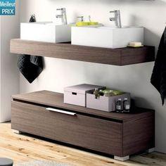 Plan vasque en bois pour salle de bain mod le suspendu accompagn d 39 un autre mobilier for Meuble bas de rangement bois salle de bain