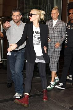 Gwen Stefani and No Doubt bandmate Tom Dumont show off their style as they leave their hotel in New York City