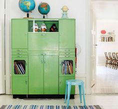 Retro lockers in green. Would love this in the boy's room with a collection of vintage globes.
