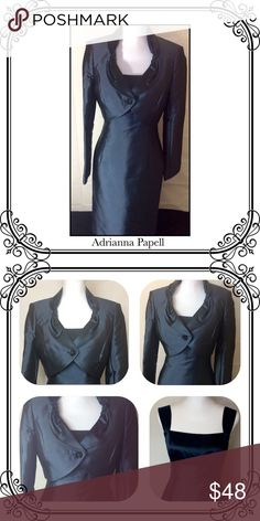 "Dress with Bolero Jacket Evening dress // EUC // back zip // shoulder to hem 39 "" 1/2 //  Shell 75% Silk &25% cotton, decoration 100% Silk, Lining 100% Acetate. dry Clean Inside out// back slit. Color is like a metallic  dark Teal. Adrianna Papell Dresses"