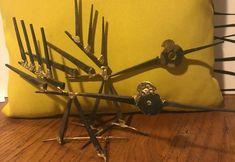 2 VTG Steam Punk Scrap Metal Modern Abstract Bird Sculptures MCM Art  | eBay