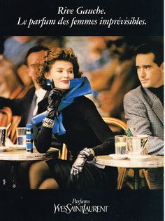 Rive Gauche - love the blue accessories, black dress and gloves which match the packaging of this young fragrance by YSL. Saint Laurent Perfume, Saint Yves, St Laurent, Perfume Diesel, Rive Gauche Perfume, Anuncio Perfume, Perfume Adverts, Fragrance, Thoughts