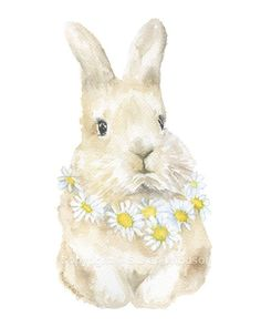 Bunny Rabbit with Daisies Wreath watercolor giclée reproduction. Portrait/vertical orientation. Printed on fine art paper using archival pigment inks. This quality printing allows over 100 years of vi