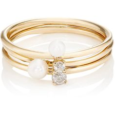 Loren Stewart Women's Valentine Ring Set ($495) ❤ liked on Polyvore featuring jewelry, rings, accessories, bracelets, gold, 14k stackable rings, sparkly rings, band jewelry, pearl band ring and stackable pearl ring
