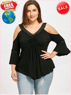 Buy plus size women's tops from Fashionmia. We have women's plus size fashion tops of many trendy styles and colors with cheap price. Plus Size Jumpers, Plus Size T Shirts, Plus Size Tops, Plus Size Women, Dress Shirts For Women, Blouses For Women, Curvy Fashion, Plus Size Fashion, Fashion Black