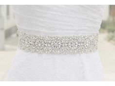 Rhinestones and pearls sash bridal sash by Affordablebridals