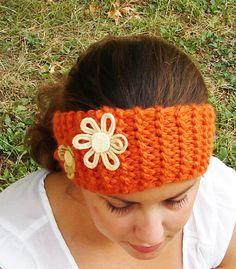 Orange Knit Ear Warmer  http://www.etsy.com/shop/SlightlyAskewDesigns