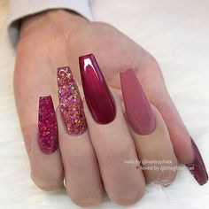 25 Fun Designs For Cute Nails That Will Make You Flip! Long Burgundy Nails With Glitter Milky Way Nails ★ Here are 19 ideas for really cute nails you will love! There are a ton of nail art designs out there, so how do you know which one is best for you? Coffin Nails Long, Long Acrylic Nails, Long Nails, Coffin Nails Glitter, Glitter Nail Art, Stiletto Nails, Acrylic Nail Designs, Nail Art Designs, Nails Design