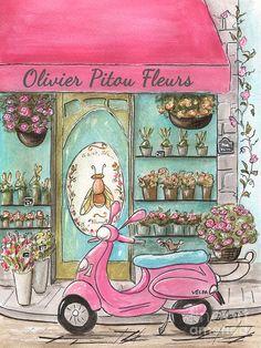 Fleur Poster featuring the painting Paris Flower Shop - Olivier Pitou Fleurs - Pink Paris Vespa Collection by Debbie Cerone