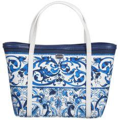 Dolce & Gabbana Girls Blue 'Majolica' Handbag (25cm) at Childrensalon.com