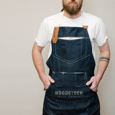 CULT OF ONE custom made aprons for WOODSTOCK URBAN PIZZERIA  hand coated denim with cotton trim and leather finishing
