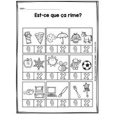 Est-ce que ça rime? Teaching Kindergarten, Teaching Tools, Teaching Kids, Teaching Reading, French Language Lessons, French Lessons, Speech Language Pathology, Speech And Language, French Kids