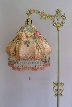 Victorian Lampshade with antique silk ribbon work flowers - Victorian Lampshade with antique silk ribbon work flowers - Victorian Lamps, Victorian Furniture, Antique Lamps, Shabby Chic Furniture, Vintage Furniture, Shabby Chic Homes, Shabby Chic Style, Shabby Chic Decor, Style Boudoir