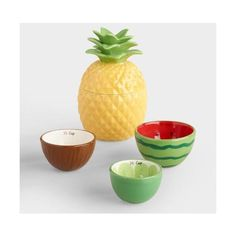 Tropical Fruit Ceramic Measuring Cups World Market ($13) ❤ liked on Polyvore featuring home, kitchen & dining, kitchen gadgets & tools, ceramic measuring cups, colored measuring cups and stackable measuring cups