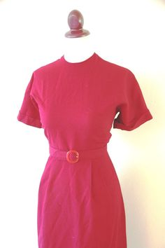 Vintage 1950s Cranberry Wiggle Dres by RetroKittenVintage on Etsy, $36.00