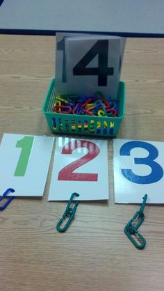 Number chain links. Math and fine motor. Such a good preschool hands-on activity, plus incredibly cheap to make!