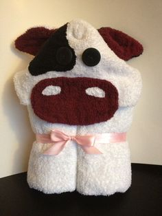 COW hooded bath towel on Etsy, $37.00