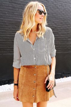 Suede Skirts Glamsugar.com Striped button-down shirt & suede button-front skirt