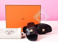 Hermes Womens Clous Pyramides Black Oran Sandal Slipper 36 Shoes - New