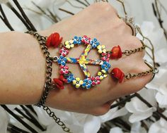 Slave Bracelet Ring Bracelet Tie Dyed Red by TheMysticalOasisGlow, $25.00