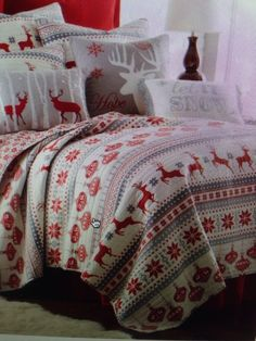 King holiday Christmas Quilt Bedding Reindeer Snowflakes Ornaments Red Grey  #Holiday